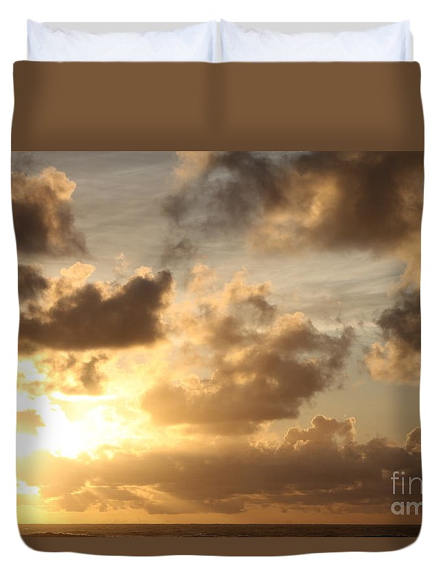 Sunrise Duvet Cover featuring the photograph Golden Sunrise On Kauai by Nadine Rippelmeyer