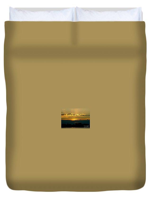 Landscape Duvet Cover featuring the photograph Golden Sunset by D Nigon