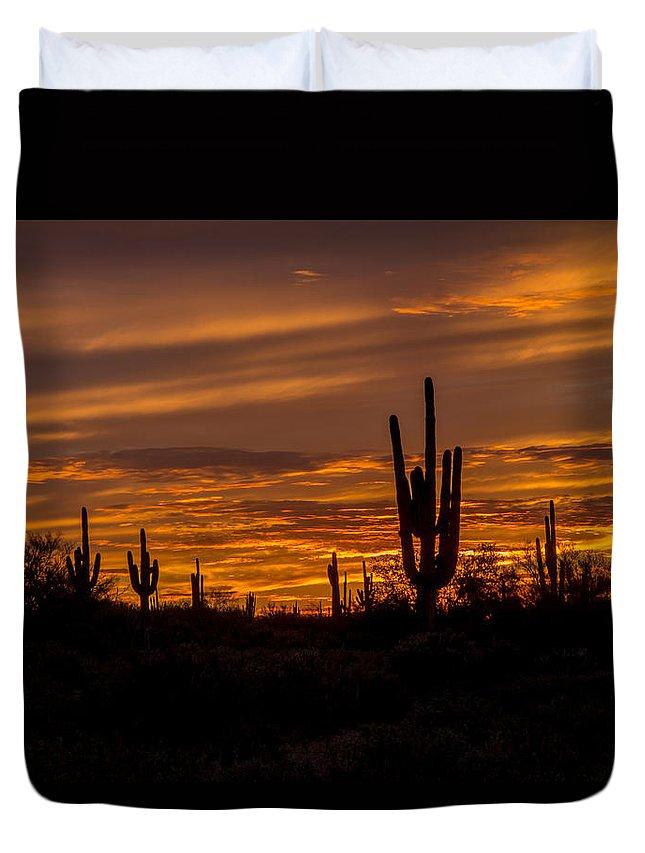 Sky Duvet Cover featuring the photograph Golden Sunset Sky by Susan Westervelt
