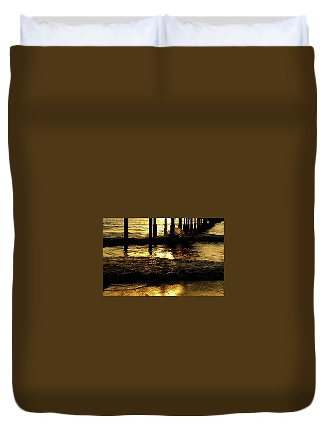 Ocean Duvet Cover featuring the photograph Golden Surf by Linda Shafer