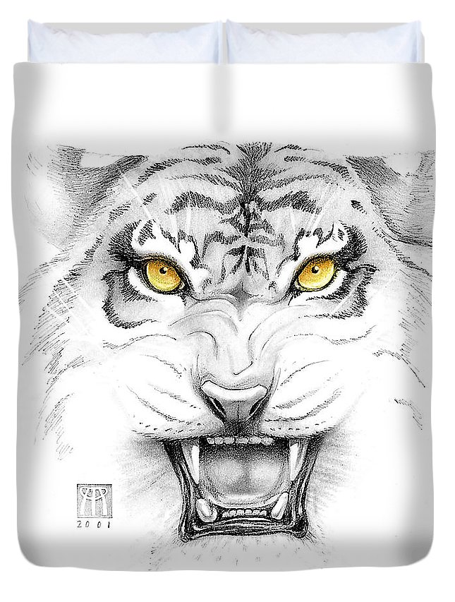 Amber Duvet Cover featuring the digital art Golden Tiger Eyes by Melissa A Benson