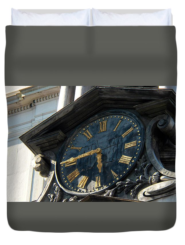 Clock Duvet Cover featuring the photograph Golden Time by Bethany Morrow
