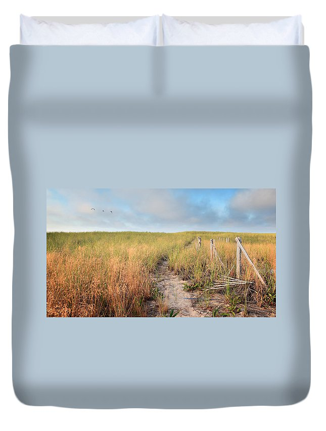 The Cape Cod National Seashore Duvet Cover featuring the photograph Golden Trail by Bill Wakeley
