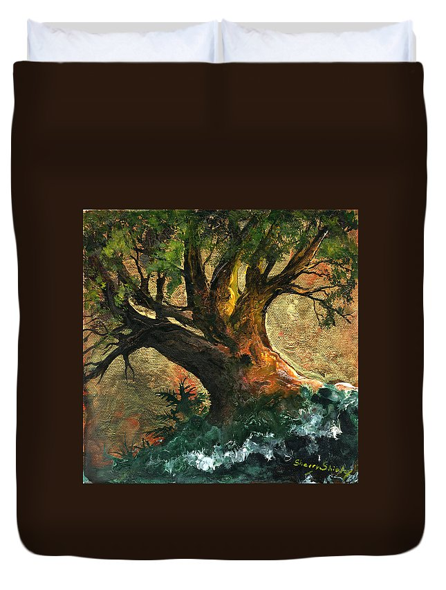 Tree Duvet Cover featuring the painting Golden Tree Of Life by Sherry Shipley