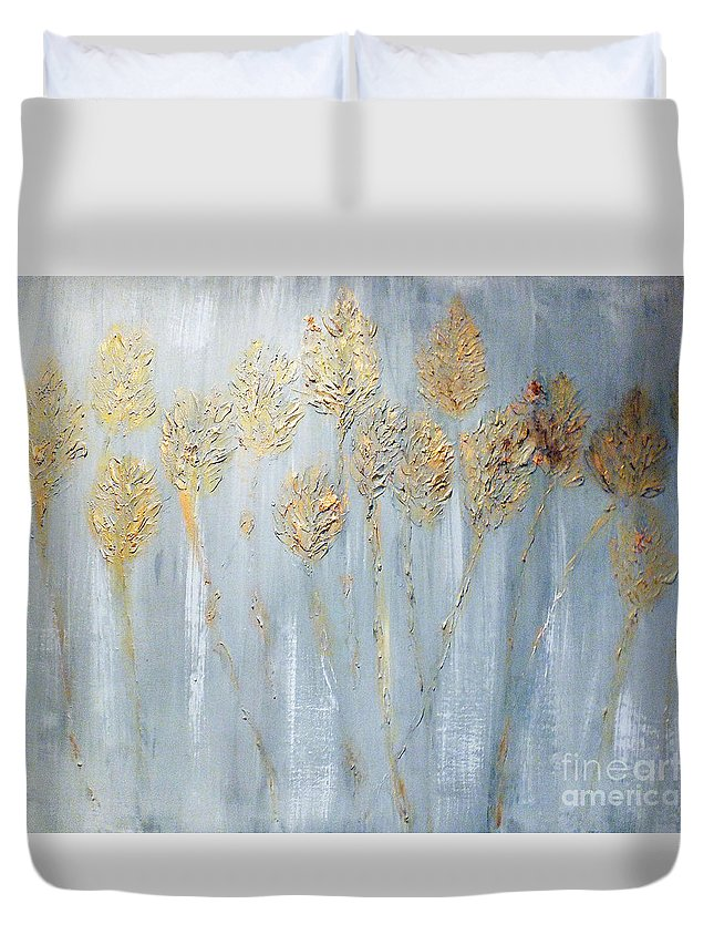 Gold Duvet Cover featuring the painting Golden Wheat Sheaf by Elizabeth Williams