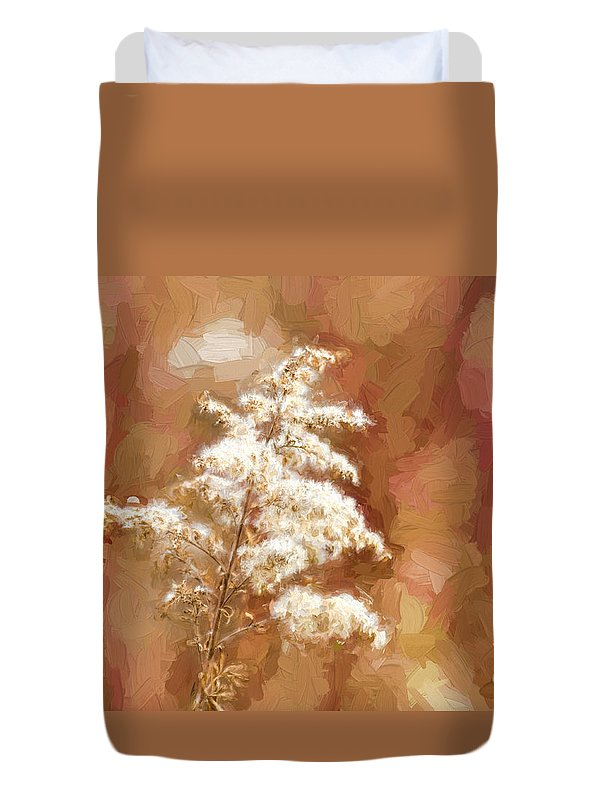 Goldenrod Duvet Cover featuring the photograph Goldenrod Plant In Fall by Les Palenik