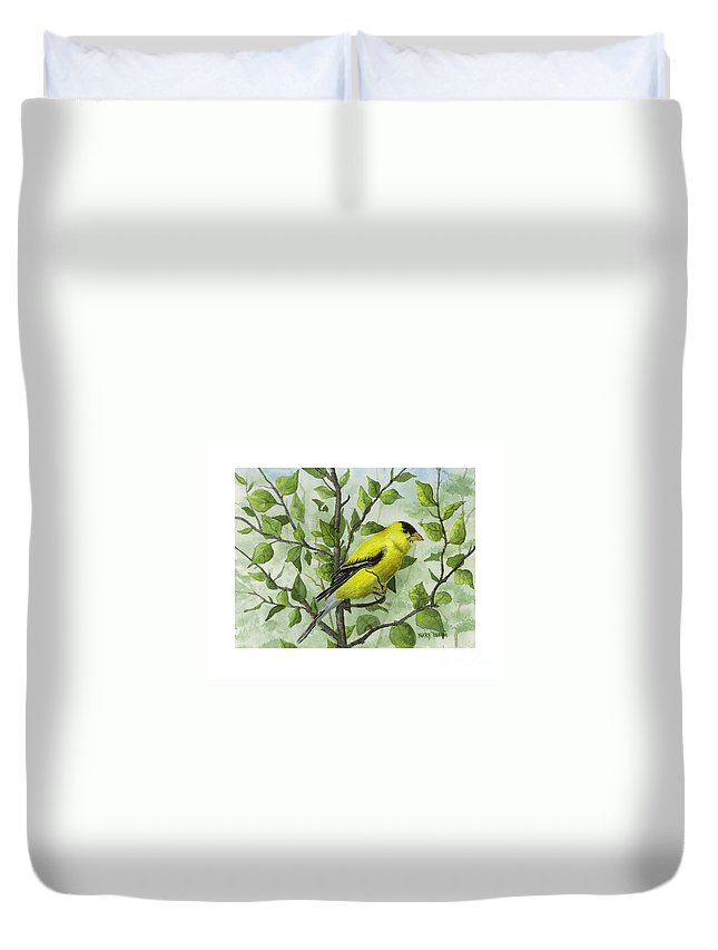 Bird Duvet Cover featuring the painting Goldfinch by Mary Tuomi