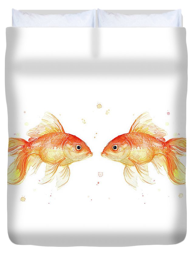 Gold Duvet Cover featuring the painting Goldfish Love Watercolor by Olga Shvartsur