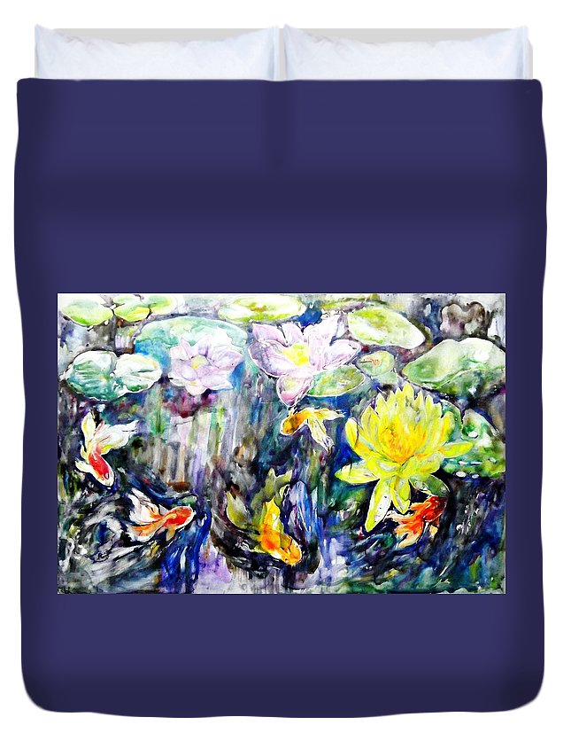Goldfishes Duvet Cover featuring the painting Goldfishes Happily Swimming by Jongdee Thongkam