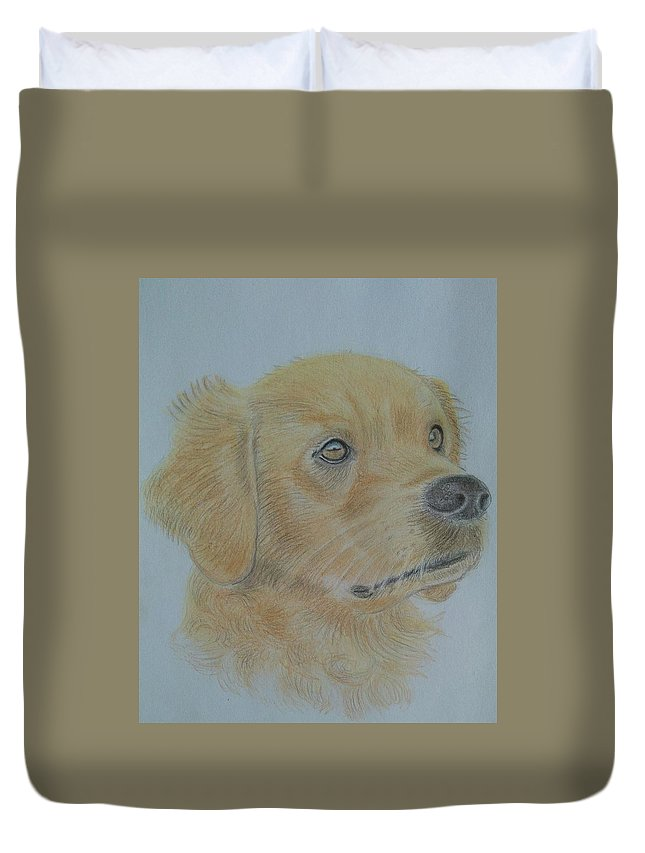 Dog Duvet Cover featuring the drawing Goldie by Paul Blackmore