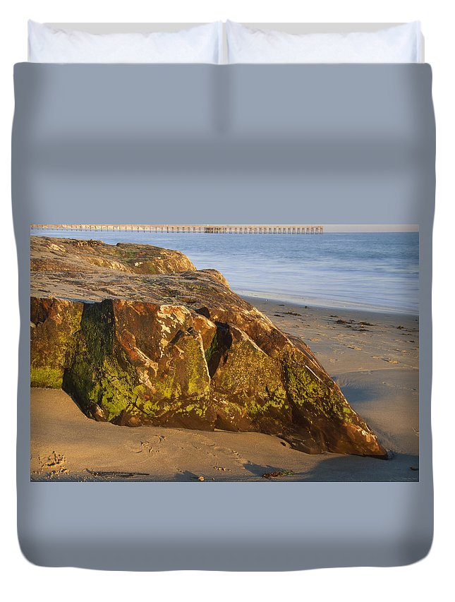 Goleta Pier Duvet Cover featuring the photograph Goleta Pier by Soli Deo Gloria Wilderness And Wildlife Photography