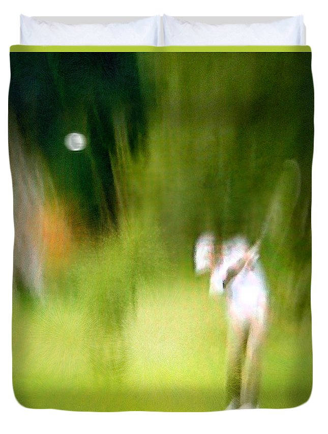 Golf Duvet Cover featuring the painting Golf At The Blue Monster In Doral Florida 01 by Miki De Goodaboom