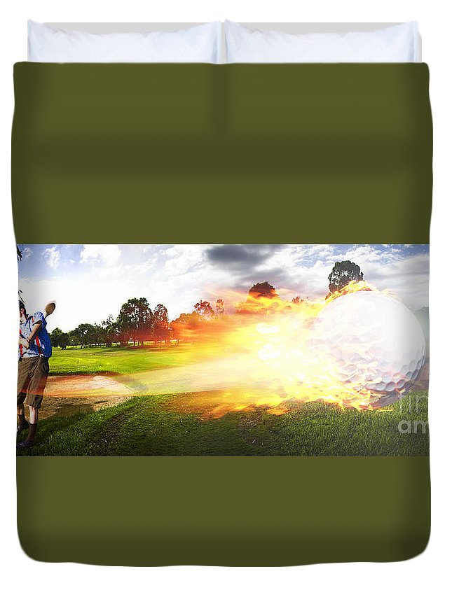 Vacation Duvet Cover featuring the photograph Golf Ball On Fire by Jorgo Photography - Wall Art Gallery