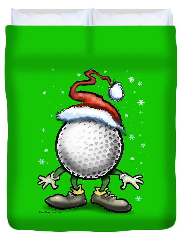Golf Duvet Cover featuring the digital art Golf Christmas by Kevin Middleton