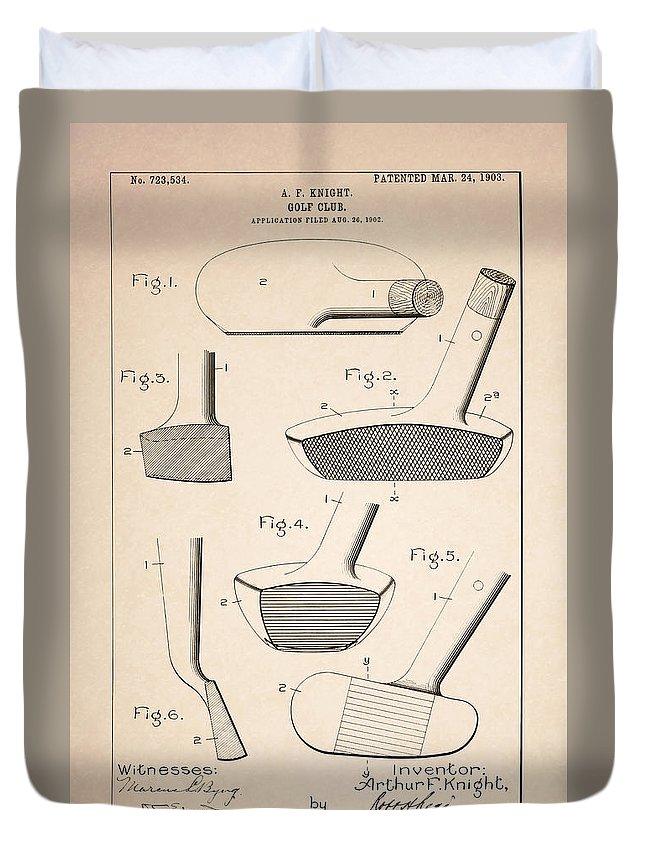 Golf Club Patent Duvet Cover featuring the photograph Golf Clubs Patent - Patent Drawing For The 1903 A. F. Knight Golf Clubs by Jose Elias - Sofia Pereira