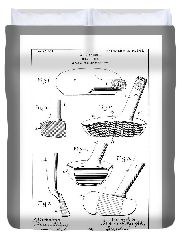 Golf Club Patent Duvet Cover featuring the photograph Golf Clubs Patent - Restored Patent Drawing For The 1903 A. F. Knight Golf Clubs by Jose Elias - Sofia Pereira