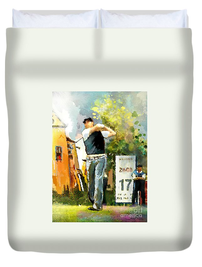 Golf Duvet Cover featuring the painting Golf In Club Fontana Austria 01 Dyptic Part 01 by Miki De Goodaboom