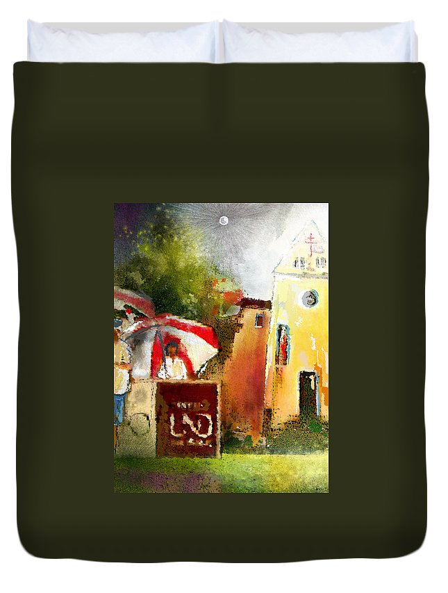 Golf Painting Golfer Sport Pga Tour Club Fontana Vienna Austria Austria Open Duvet Cover featuring the painting Golf In Club Fontana Austria 01 Dyptic Part 02 by Miki De Goodaboom