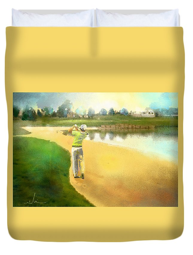 Golf Duvet Cover featuring the painting Golf In Club Fontana Austria 02 by Miki De Goodaboom