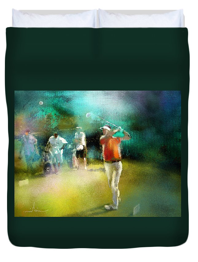 Golf Painting Golfer Sport Pga Tour Club Fontana Vienna Austria Austria Open Duvet Cover featuring the painting Golf In Club Fontana Austria 03 by Miki De Goodaboom