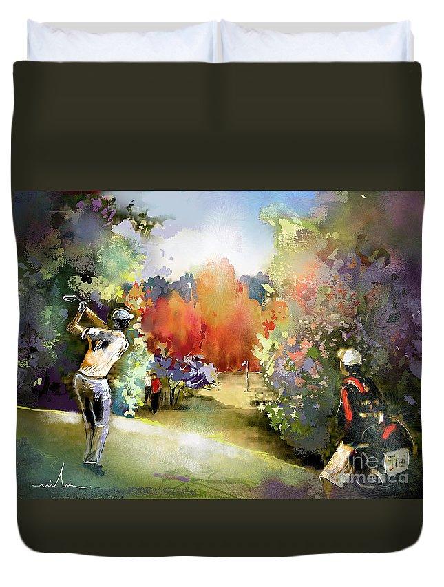 Golf Painting Golfer Sport Gut Laerchenhof Mercedes-benz Championship Pga Golf Duvet Cover featuring the painting Golf In Gut Laerchehof Germany 02 by Miki De Goodaboom