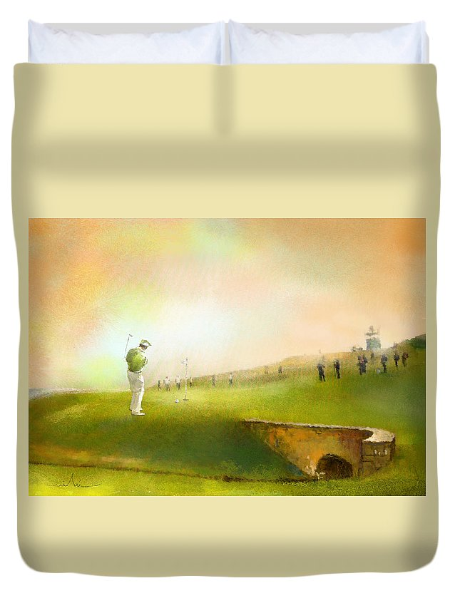 Golf Duvet Cover featuring the painting Golf In Scotland Saint Andrews 02 by Miki De Goodaboom