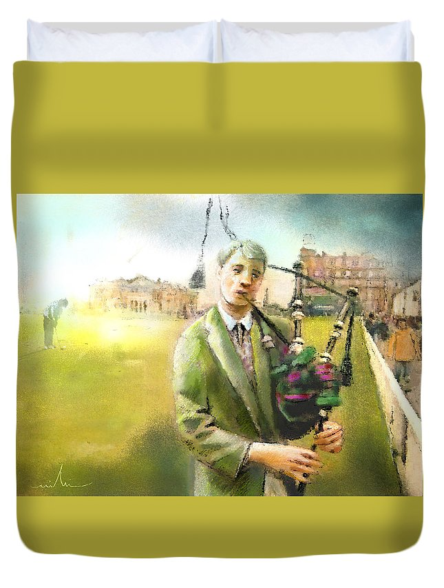 Golf Duvet Cover featuring the painting Golf In Scotland Saint Andrews 03 by Miki De Goodaboom