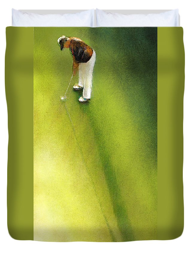 Golf Duvet Cover featuring the painting Golf In Spain Castello Masters 03 by Miki De Goodaboom
