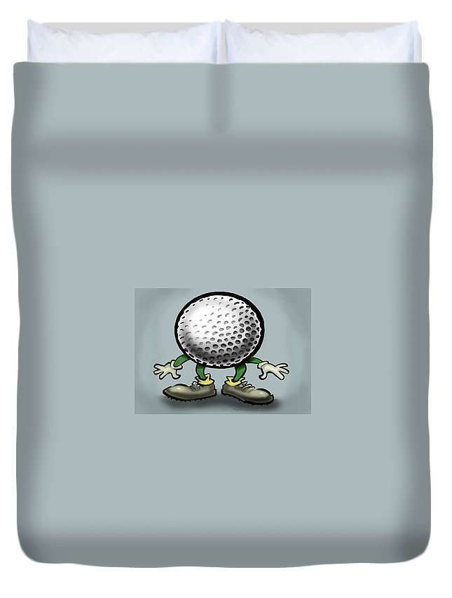 Golf Duvet Cover featuring the greeting card Golf by Kevin Middleton