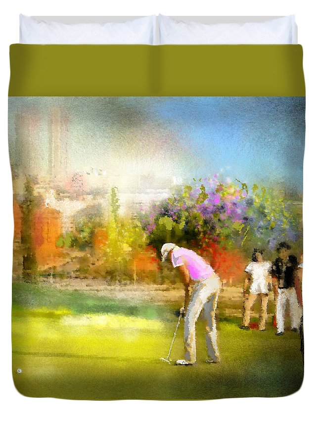 Golf Duvet Cover featuring the painting Golf Madrid Masters 02 by Miki De Goodaboom