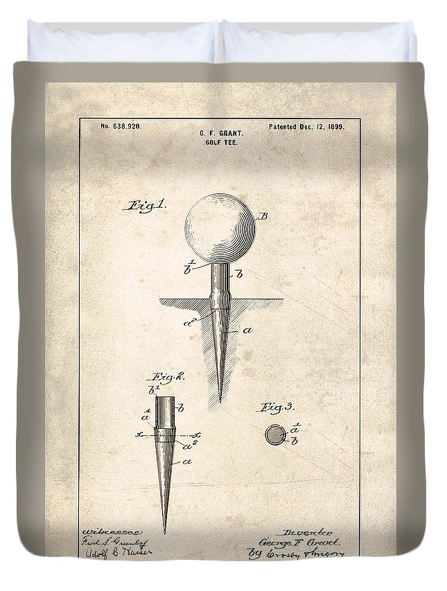 Golf Tee Patent Duvet Cover featuring the photograph Golf Tee Patent - Patent Drawing For The 1899 G. F. Grant Golf Tee by Jose Elias - Sofia Pereira