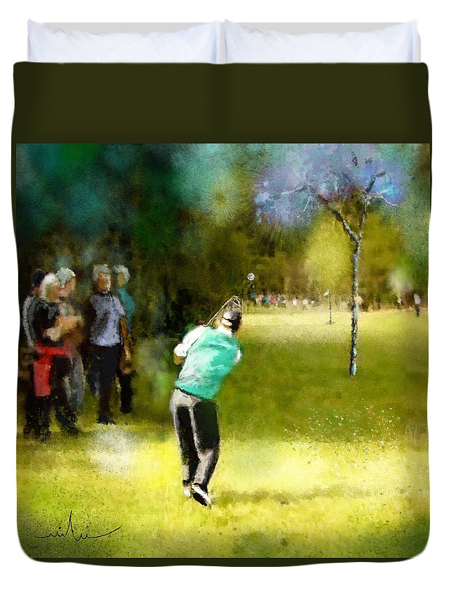 Golf Duvet Cover featuring the painting Golf Vivendi Trophy In France 02 by Miki De Goodaboom