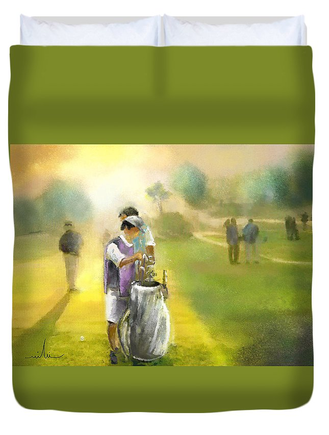 Golf Duvet Cover featuring the painting Golf Vivendi Trophy In France 03 by Miki De Goodaboom