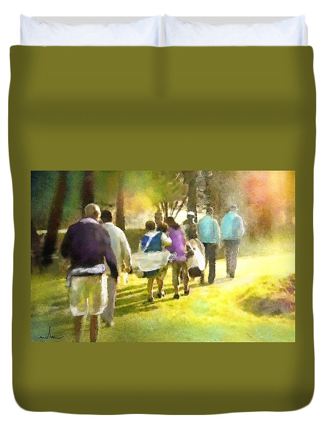 Golf Duvet Cover featuring the painting Golf Vivendi Trophy In France 04 by Miki De Goodaboom