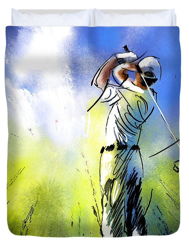 Sports Duvet Cover featuring the painting Golfscape 01 by Miki De Goodaboom