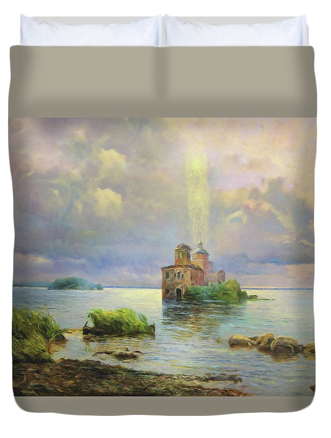 Golgotha Fantasy Duvet Cover featuring the mixed media Golgotha Fantasy Impressionism by Georgiana Romanovna