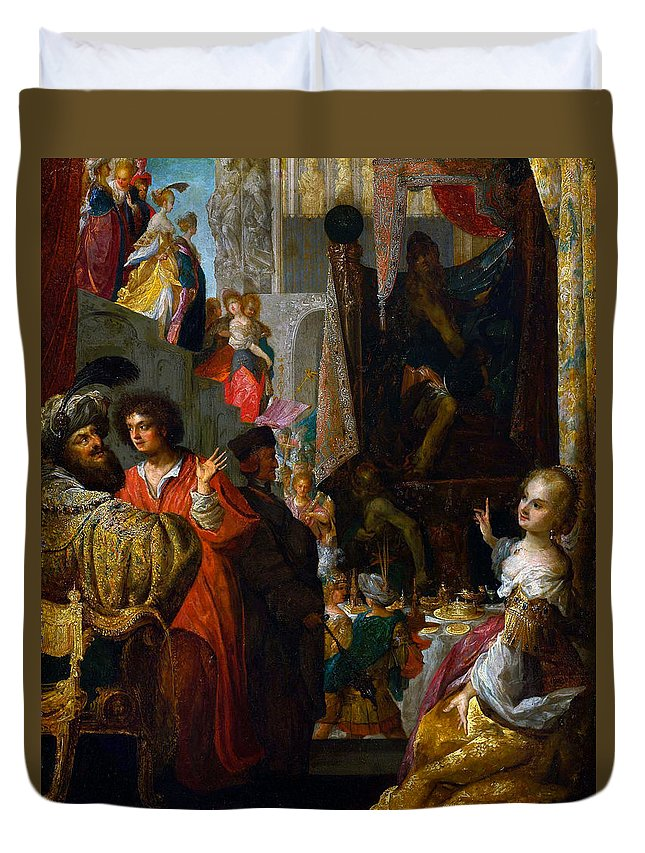 Bartholomaus Strobel Duvet Cover featuring the painting Daniel And Cyrus Before The Idol Bel by Bartholomaus Strobel