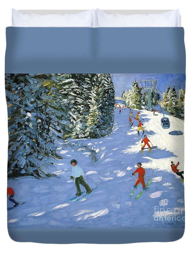 Piste Duvet Cover featuring the painting Gondola Austrian Alps by Andrew macara