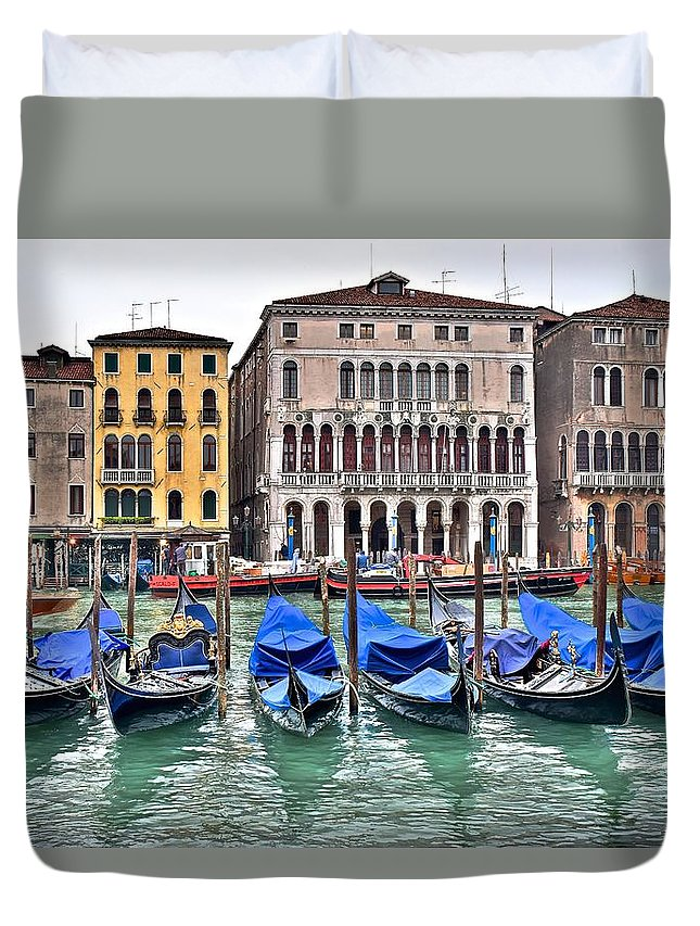 Gondolas Duvet Cover featuring the photograph Gondolas Galore by Frozen in Time Fine Art Photography