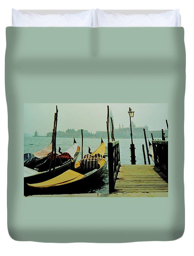 Venice Duvet Cover featuring the photograph Gondolas by Ian MacDonald