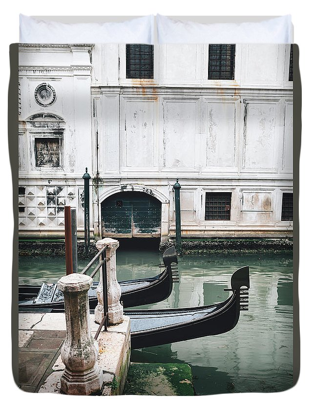 Venice Duvet Cover featuring the photograph Gondolas On A Canal In Venice, Italy by Ivan Bastien