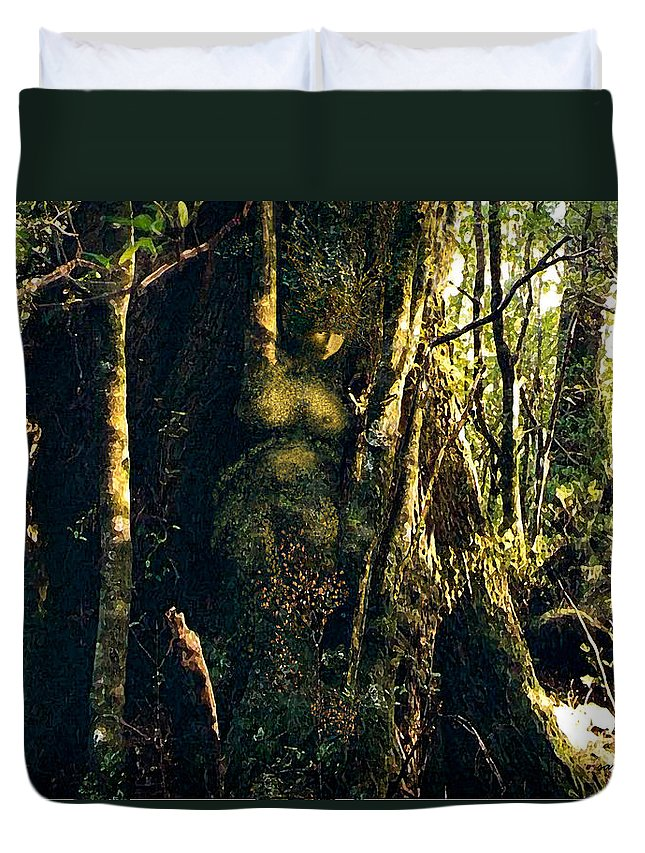 Rainforest Duvet Cover featuring the painting Gondwanaland Dreamtime by Sarah King