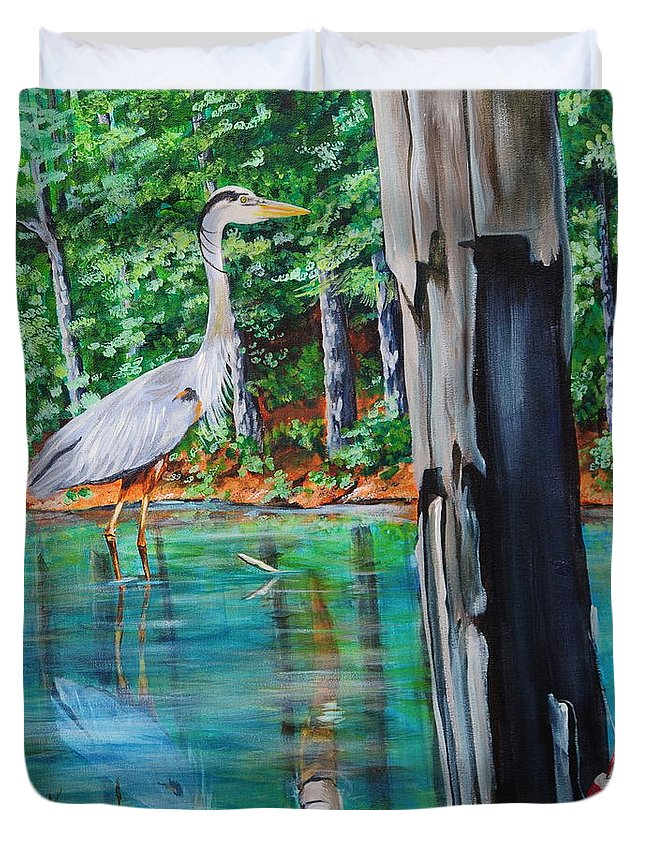 Heron Duvet Cover featuring the painting Gone Fishin by Karl Wagner