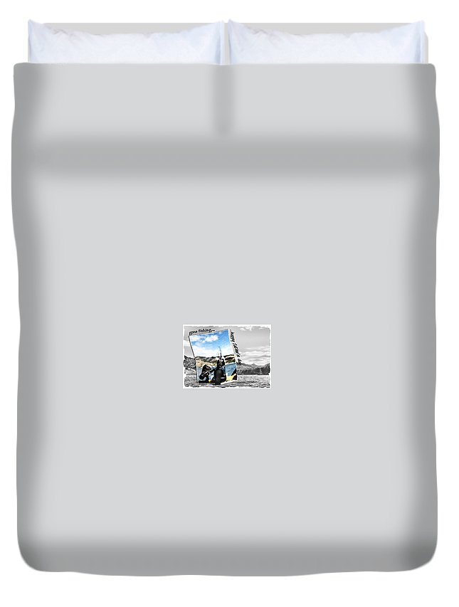 Father's Day Duvet Cover featuring the digital art Gone Fishing Father's Day Card by Susan Kinney