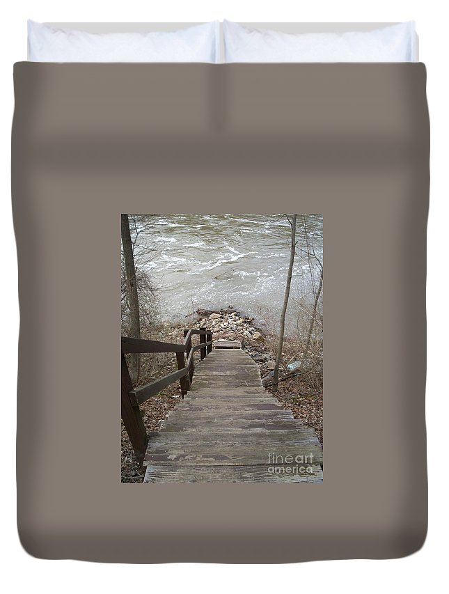 River Stairs Rocks Current Fishing Duvet Cover featuring the photograph Gone Fishing by Kristine Nora