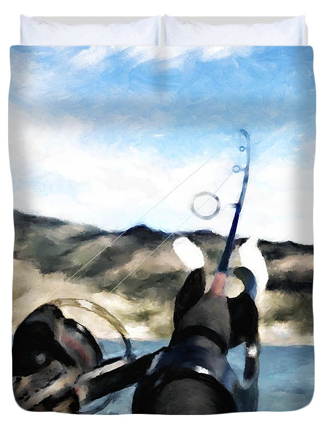 Fishing Pole Duvet Cover featuring the digital art Gone Fishing by Susan Kinney