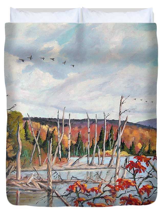Original Painting Duvet Cover featuring the painting Gone South by Richard T Pranke