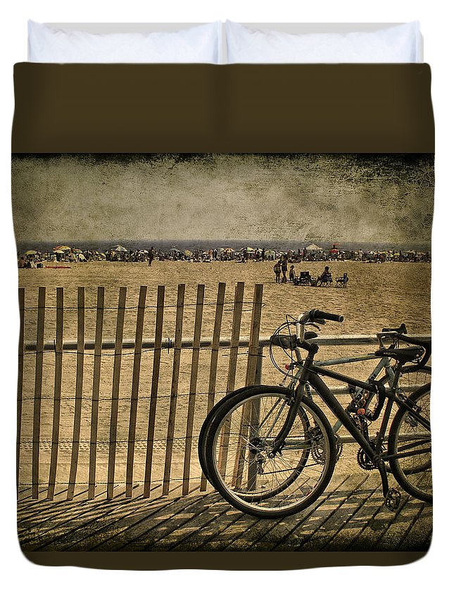 Bicycle Duvet Cover featuring the photograph Gone Swimming by Evelina Kremsdorf