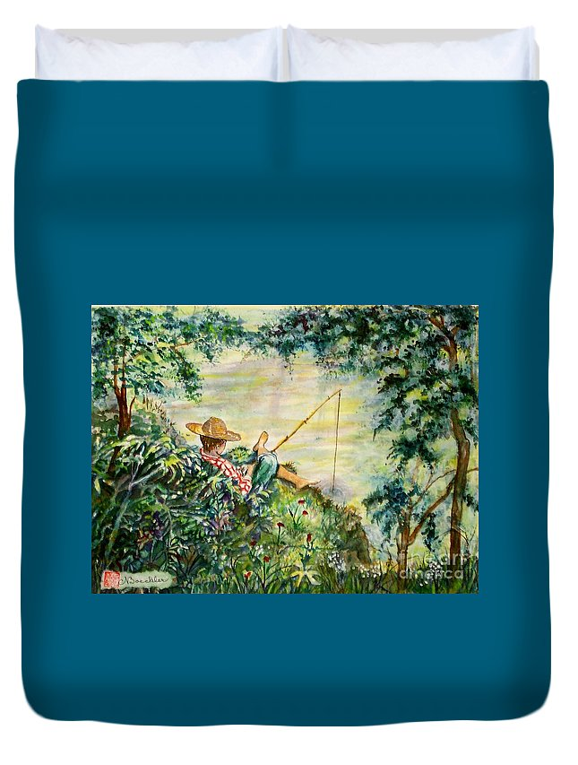 Landscape Duvet Cover featuring the painting Good Fishing by Norma Boeckler