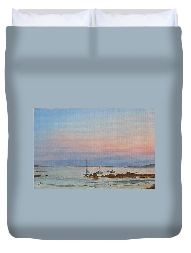 Seascape Duvet Cover featuring the painting Good Harbor by Lea Novak